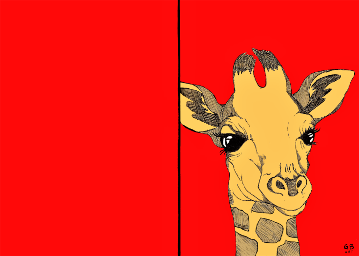 Giraffe red signed