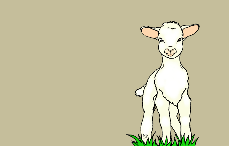 Lamb neutral background signed